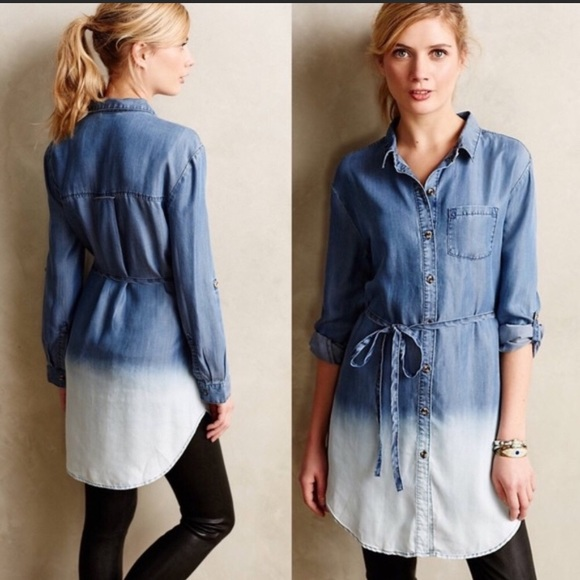 9de9fb476d78 Anthropologie Tops | Anthro Holding Horses Dip Dye Chambray Tunic ...